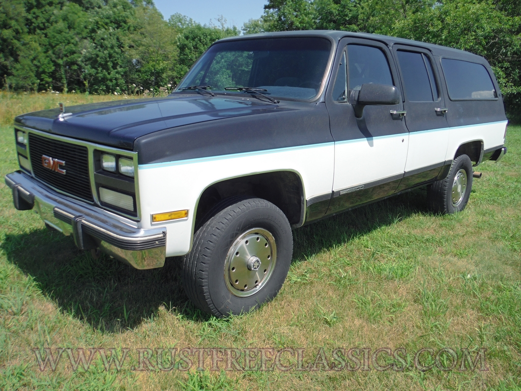 1991 GMC V2500 Suburban fully loaded SLE Blue White 91 4x4 ...